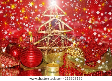 Christmas composition  with candles and decorations on bright background