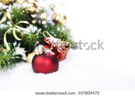Christmas composition with christmas ball - stock photo
