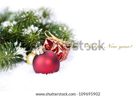 Christmas composition with christmas ball (with sample text) - stock photo