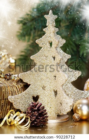 Christmas composition with Christmas decoration - stock photo