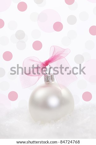 Christmas composition with  christmas decoration over polka dots background - stock photo