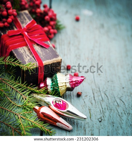Christmas composition with christmas decoration ,present gift in vintage style - stock photo