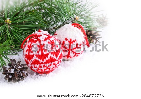 Christmas composition with decorations and pine branches - stock photo