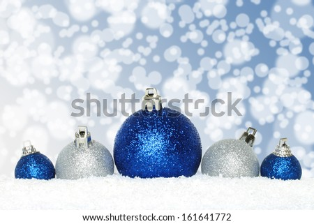 Christmas composition with decorations and snow  - stock photo
