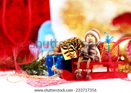 Christmas composition with decorations on abstract background