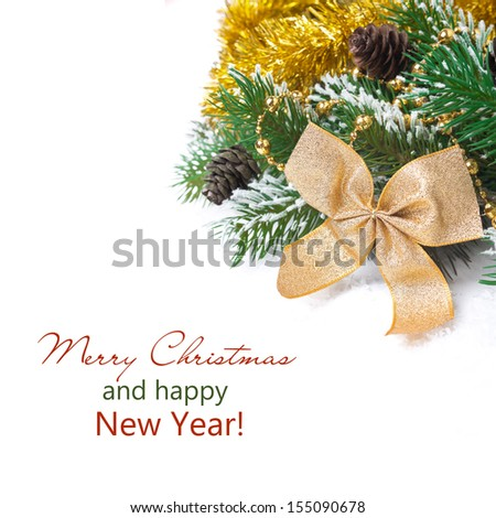 Christmas composition with fir branches, pine cones and decorations, isolated on white