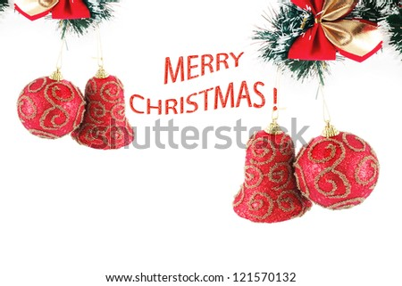 Christmas composition with sample text, decorations - stock photo
