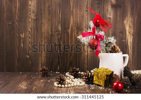 christmas composition with small red bird and fir tree decorations xmas greeting card selective - Red Bird Christmas Tree Decorations