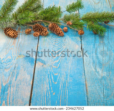 Christmas composition with snow and Christmas decoration - stock photo