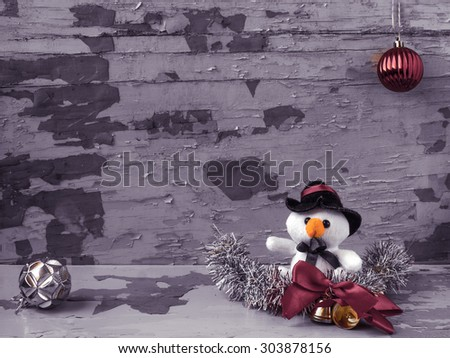 Christmas composition with toy snowman - stock photo