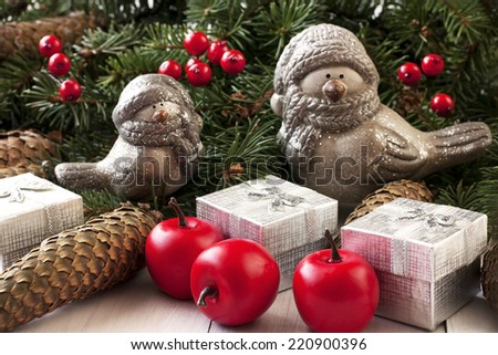 Christmas composition with winter birds - stock photo