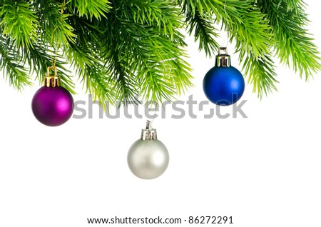 Christmas concept with baubles on white