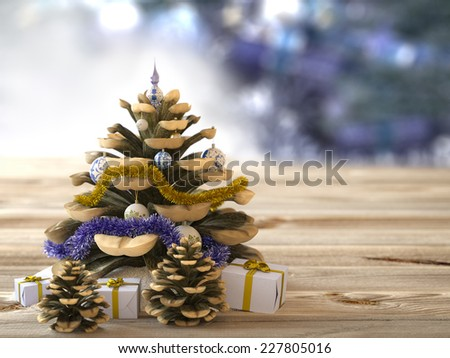 Christmas cone with gifts on wood texture concept holiday background - stock photo
