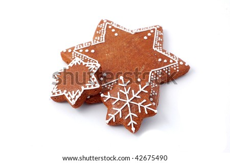 Christmas cookie (gingerbread) on white background - stock photo