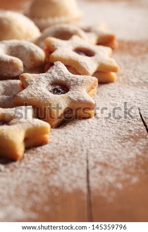 Christmas cookie on wooden background. - stock photo