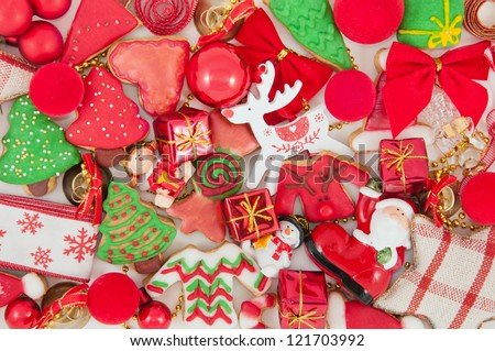 Christmas cookies and decorations - stock photo