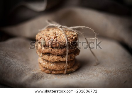 Christmas cookies. Biscuits. Oat biscuits. Cereal biscuits with the addition of sesame, peanuts, sunflower and amaranth.
