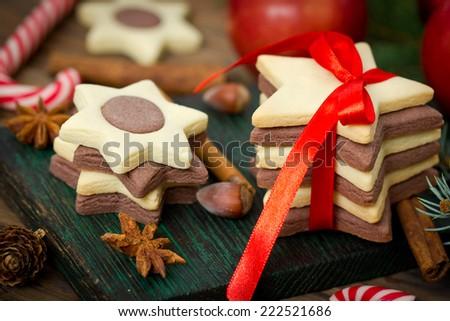 Christmas cookies closeup - stock photo