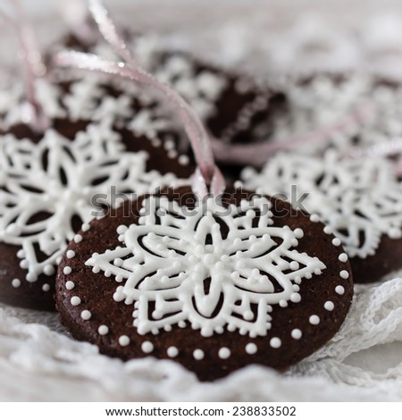 Christmas cookies decorated with royal icing. Selective focus  - stock photo