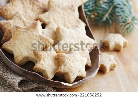 Christmas cookies in star shape - stock photo