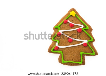 Christmas cookies isolated on white background - stock photo