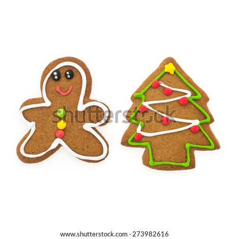 Christmas cookies isolated on white background
