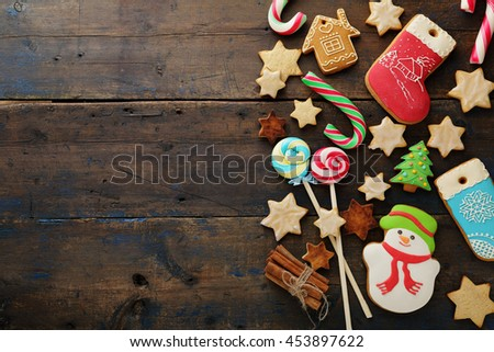 christmas cookies on rustic background, food top view