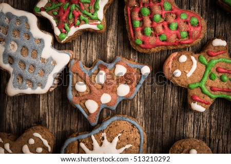 Christmas cookies on rustic wooden background