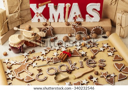 Christmas cookies. Vintage stile. Christmas decorations - letters XMAS, gifts, nuts.