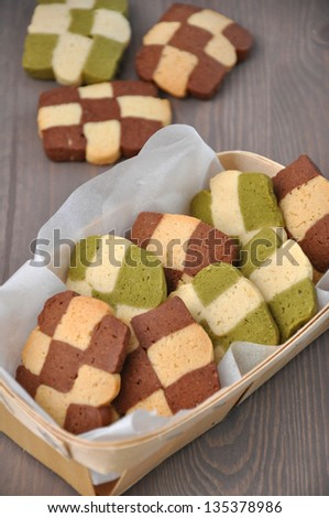 Christmas Cookies with chocolate and greet tea - stock photo
