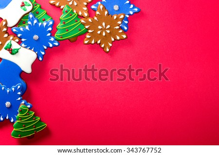 Christmas cookies with festive decoration on the white background. - stock photo