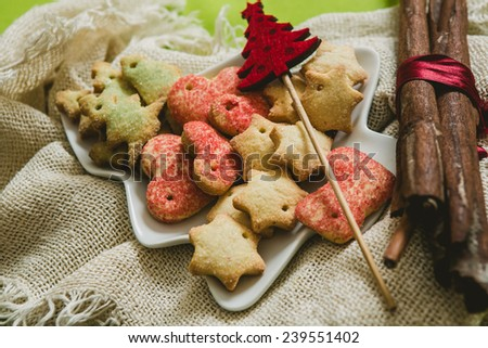 Christmas cookies with festive decoration. Selective focus. warm colors - stock photo