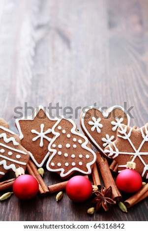 Christmas cookies with spices - Christmas time - stock photo