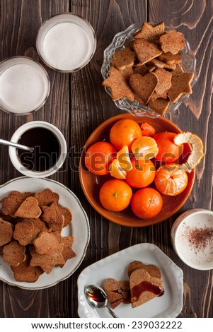 Christmas cookies with tangerine  - stock photo