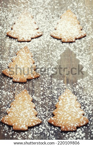 Christmas cookies with white icing - stock photo