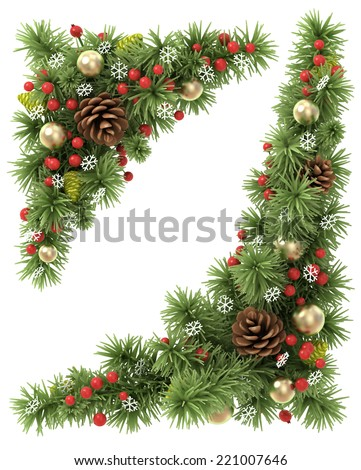 Christmas corners set from the decorated fir tree branches. - stock photo