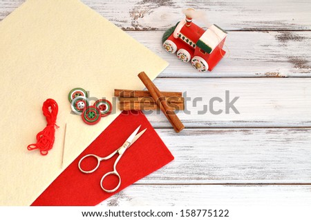 Christmas craft supplies and ornaments - stock photo