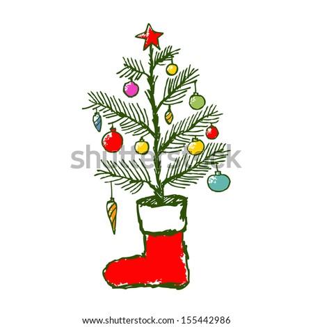 Christmas creative hand drawn colorful fir tree & sock for xmas design. raster illustration - stock photo