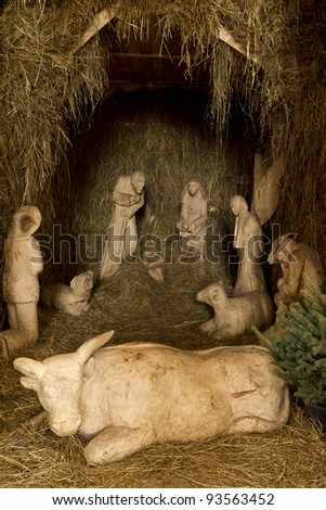 Christmas Crib. Nativity scene with the holy family and Jesus - stock photo