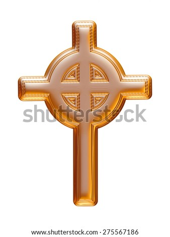 Christmas cross icon in gold on isolated white background.