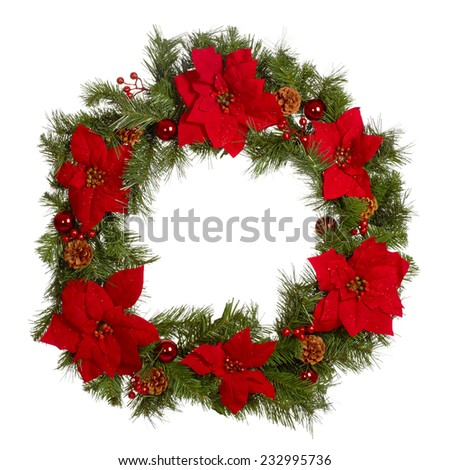 Christmas crown isolated white background. Xmas decoration wreath - stock photo