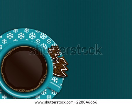 christmas cup of coffee and cookies lying on blue tablecloth with place for text - stock photo