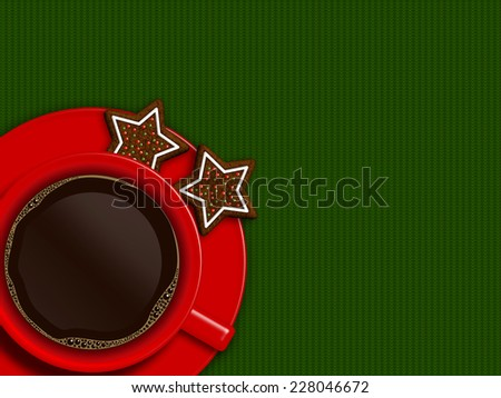 christmas cup of coffee and cookies lying on green tablecloth with place for text - stock photo