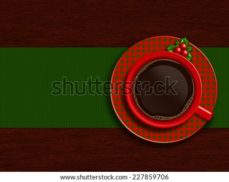christmas cup of coffee with holy lying on wooden table and place for text - stock photo