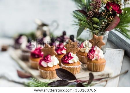 Christmas cupcakes - stock photo