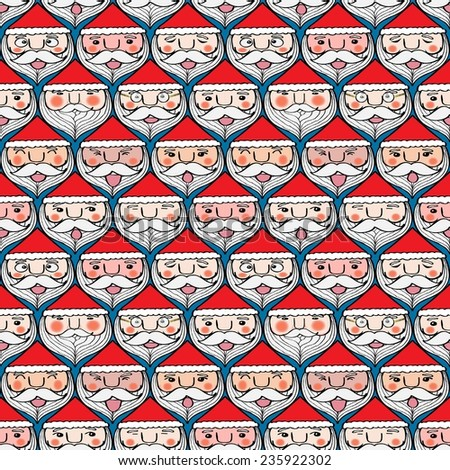 Christmas cute santa claus emotion face seamless pattern - stock photo