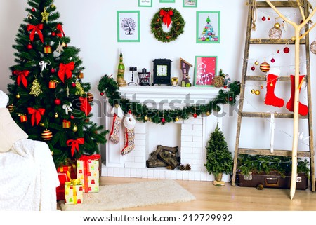 Christmas decor, Christmas Background, fireplace, Christmas tree - stock photo