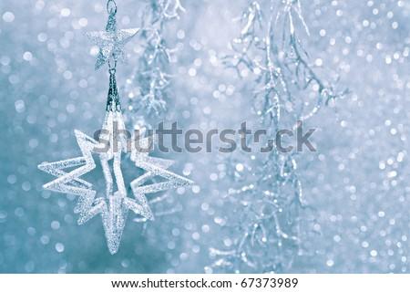 Christmas decor star silver shiny - stock photo