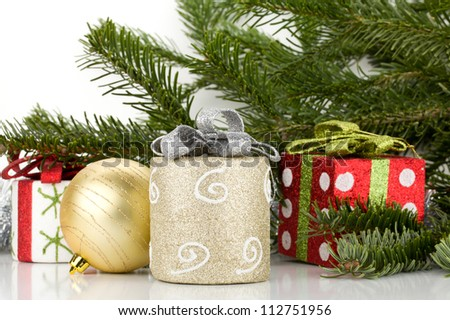 Christmas decor with fir tree. Isolated on white background - stock photo