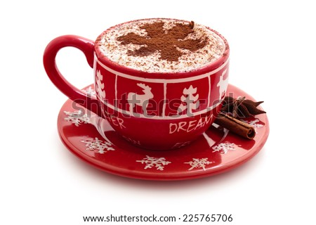 Christmas decorated cup with hot chocolate for holidays. - stock photo